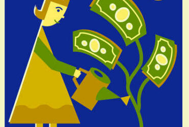 woman watering money tree