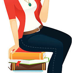 A beautiful woman reading while sitting on a pile of books. Her glasses are easily removed in Ai, as is the book she is holding and the stack of books beneath her.